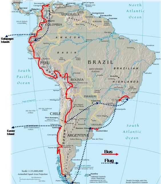 Meine Route in Südamerika - Juli 2009 bis Februar 2010
